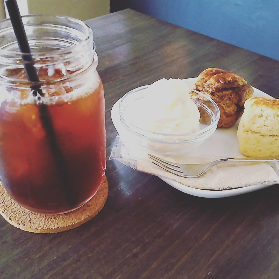 Scone, drip coffee. - from Instagram